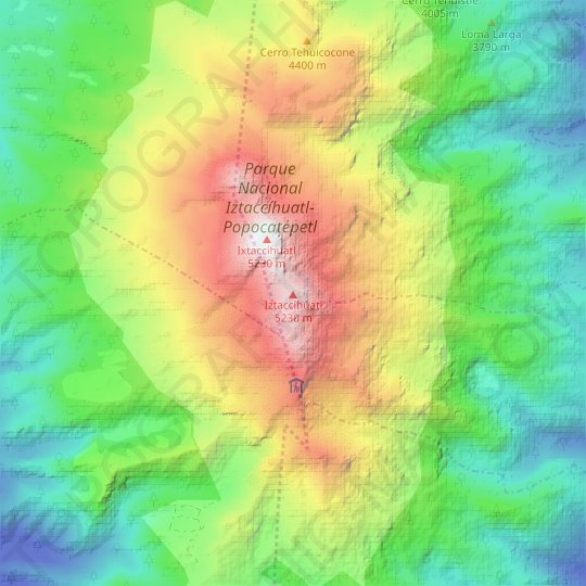 Iztaccíhuatl topographic map, relief map, elevations map