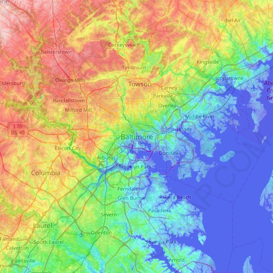 Baltimore topographic map, relief map, elevations map