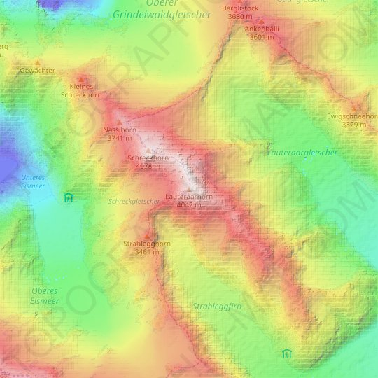 Lauteraarhorn topographic map, relief map, elevations map