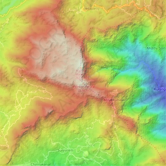 Meesapulimala topographic map, relief map, elevations map