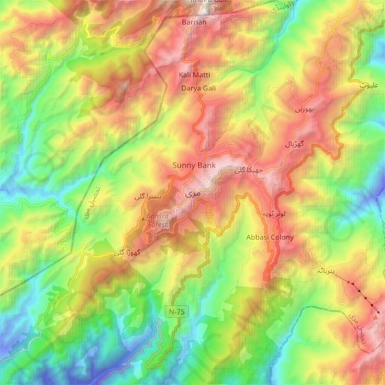 Murree topographic map, relief map, elevations map