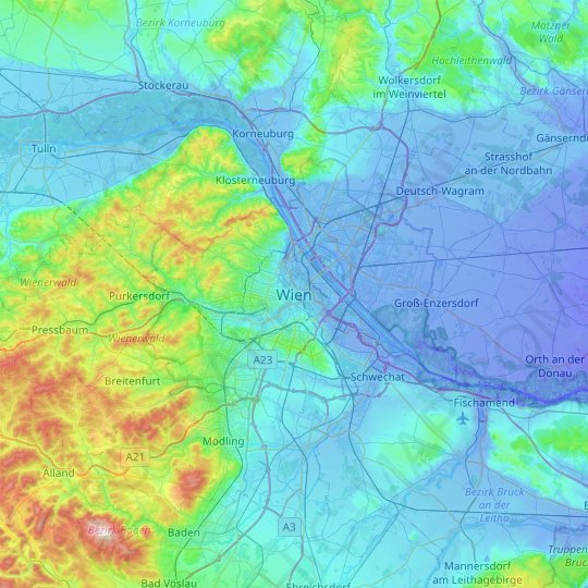 Vienna topographic map, relief map, elevations map