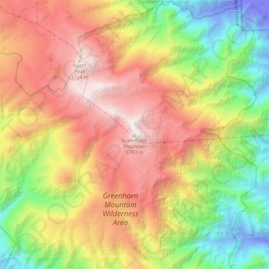 Greenhorn Mountain topographic map, relief map, elevations map