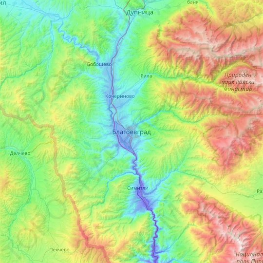 Blagoevgrad topographic map, relief map, elevations map