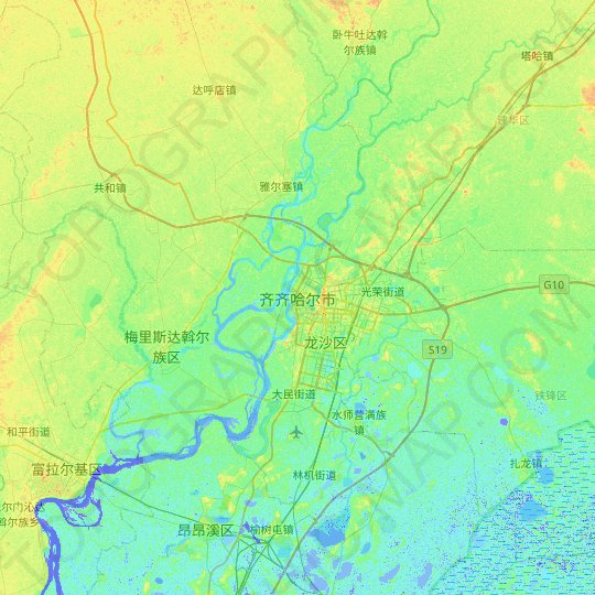 Qiqihar topographic map, relief map, elevations map