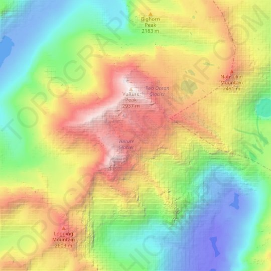 Vulture Glacier topographic map, relief map, elevations map