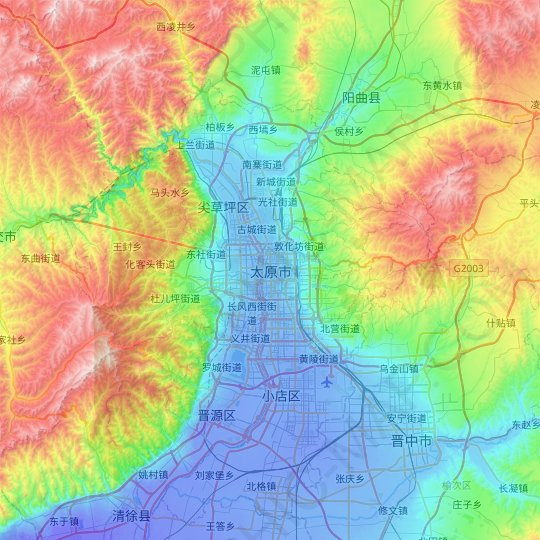 Taiyuan topographic map, relief map, elevations map