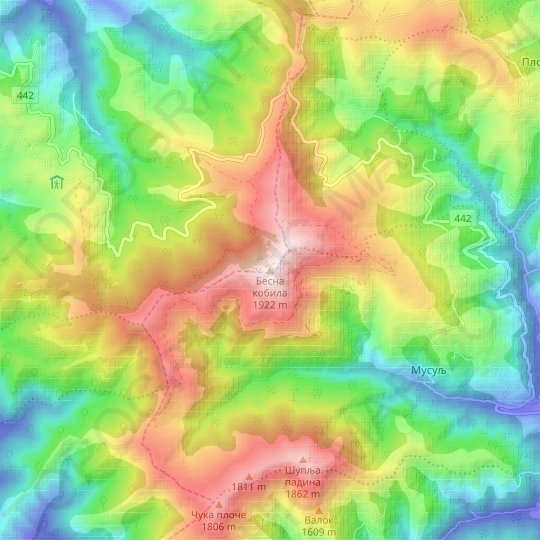 Besna Kobila topographic map, relief map, elevations map