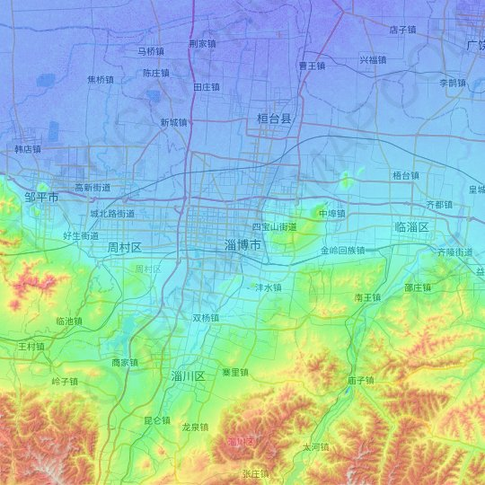 Zibo topographic map, relief map, elevations map