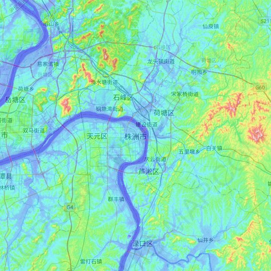 Zhuzhou topographic map, relief map, elevations map