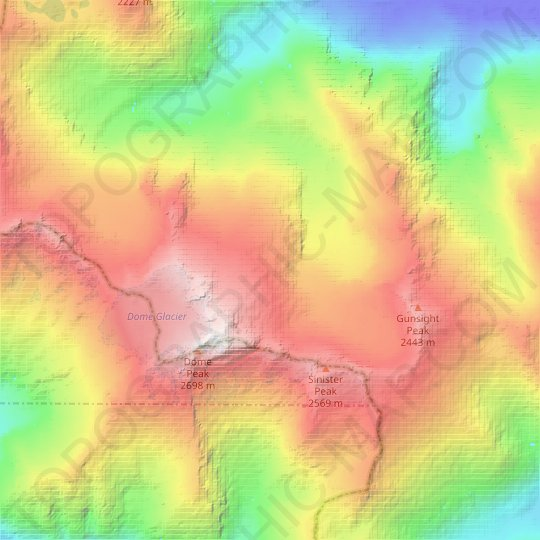 Chickamin Glacier topographic map, relief map, elevations map