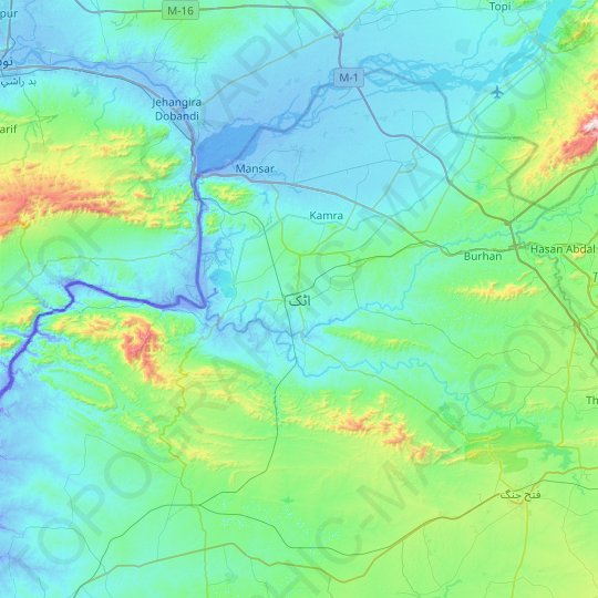 Attock topographic map, relief map, elevations map