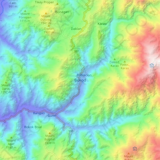 Bokod topographic map, elevation, relief