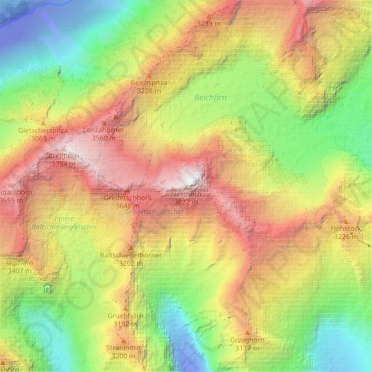 Nesthorn topographic map, relief map, elevations map