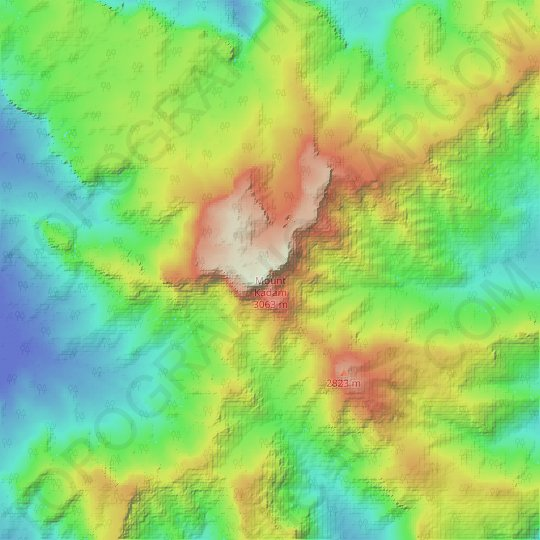 Mount Kadam topographic map, elevation, relief