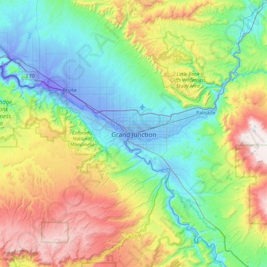 Grand Junction topographic map, relief map, elevations map