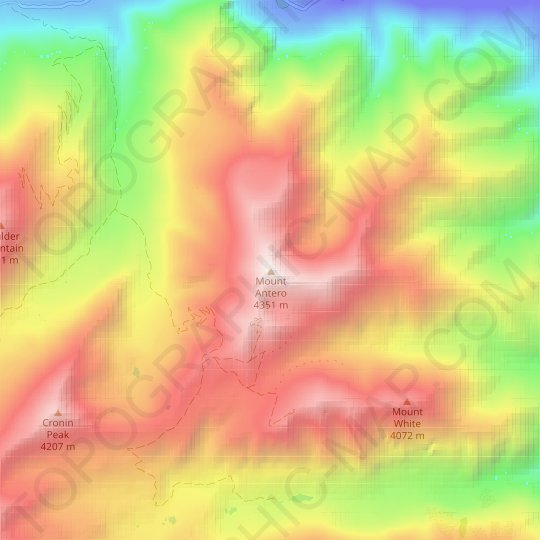 Mount Antero topographic map, relief map, elevations map