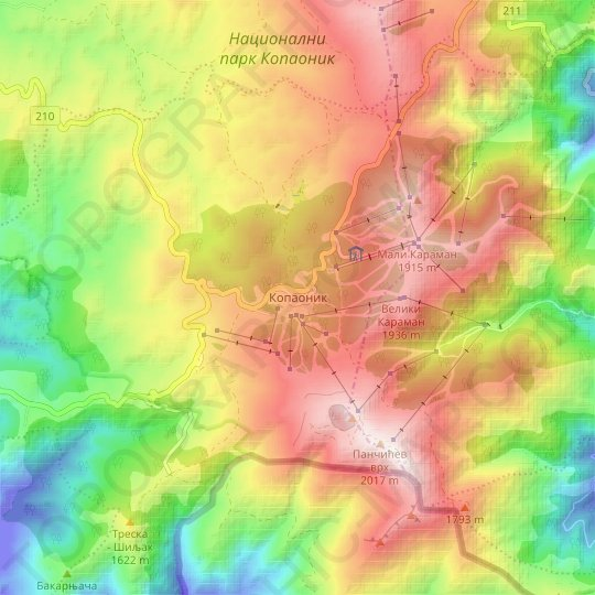 Kopaonik topographic map, relief map, elevations map