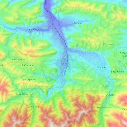 Troyan topographic map, relief map, elevations map