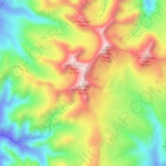 Truchas Peak topographic map, relief map, elevations map