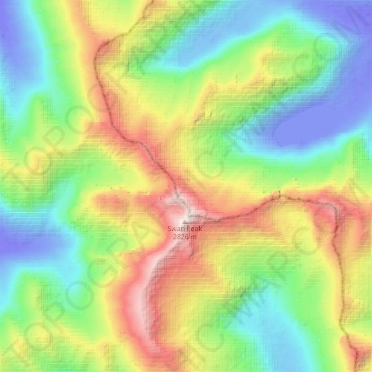Swan Glaciers topographic map, relief map, elevations map