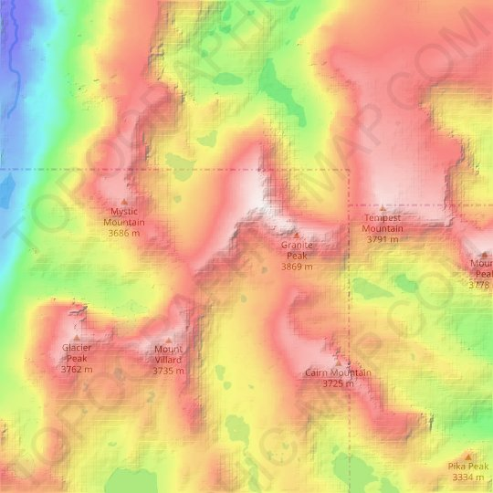 Sky Top Glacier topographic map, relief map, elevations map