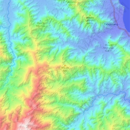 Mount Apo topographic map, relief map, elevations map