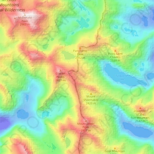 Sunrise Glacier topographic map, relief map, elevations map