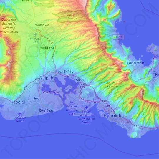 Aiea topographic map, relief map, elevations map