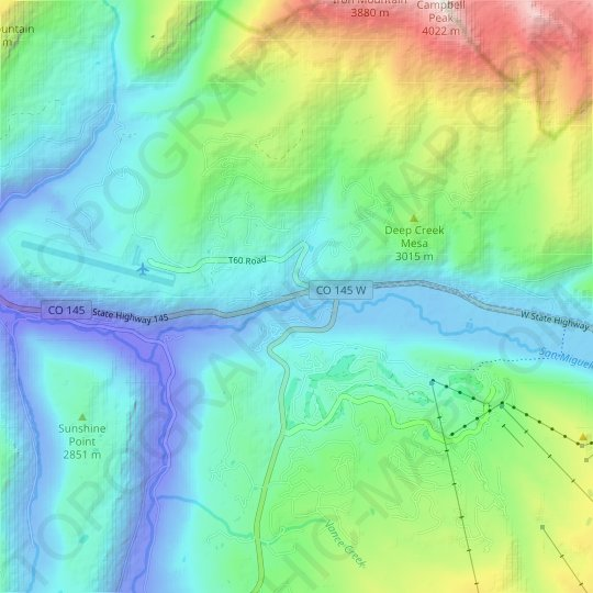 Keystone topographic map, relief map, elevations map
