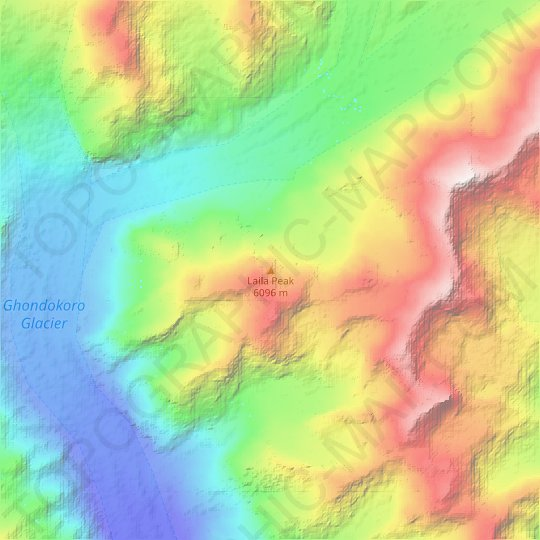 Laila Peak topographic map, relief map, elevations map