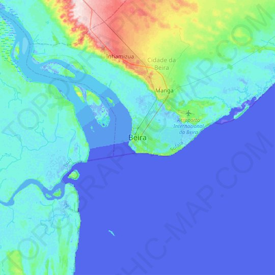 Beira topographic map, relief map, elevations map