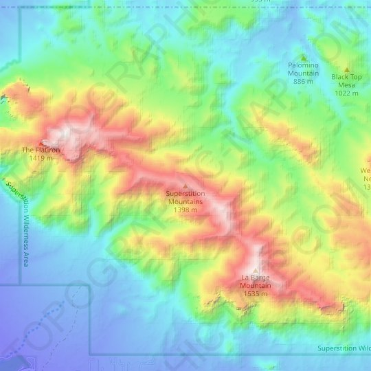 Superstition Mountains topographic map, relief map, elevations map
