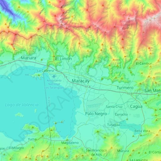 Maracay topographic map, relief map, elevations map
