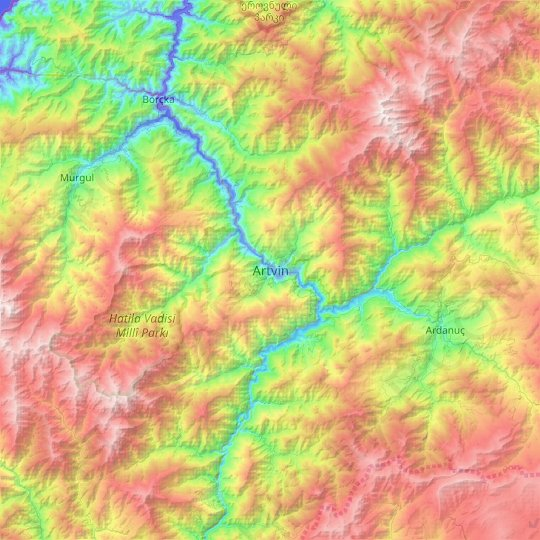 Artvin topographic map, relief map, elevations map