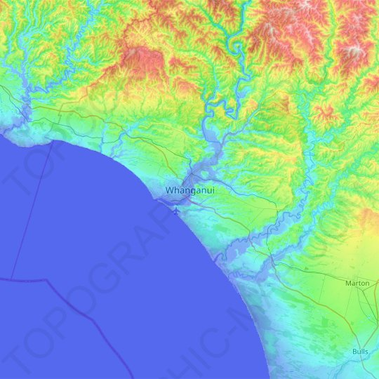 Whanganui topographic map, elevation, relief