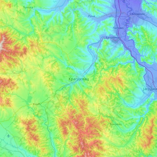 Kragujevac topographic map, relief map, elevations map