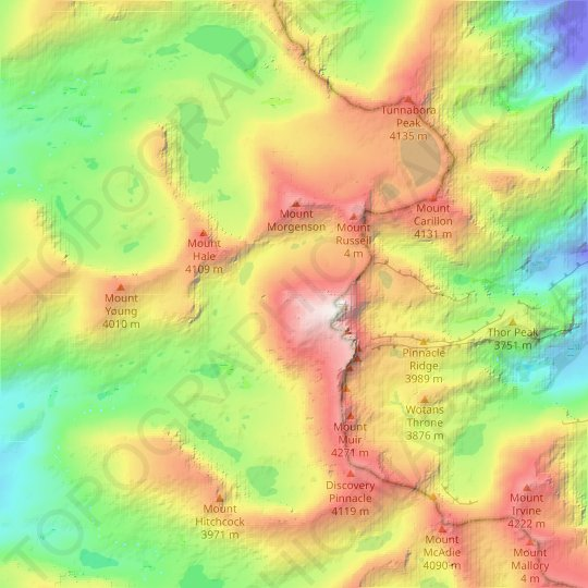 Sierra Nevada topographic map, relief map, elevations map