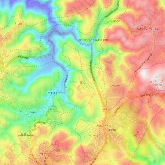 Yabrud topographic map, relief map, elevations map
