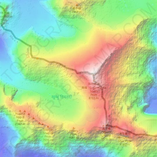 Himalayas topographic map, relief map, elevations map