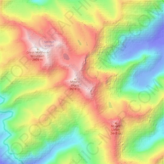 Grant Glacier topographic map, relief map, elevations map