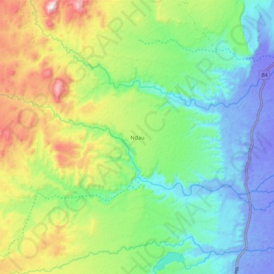 Ndau topographic map, relief map, elevations map