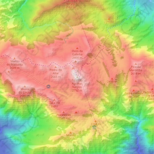Agulhas Negras topographic map, relief map, elevations map