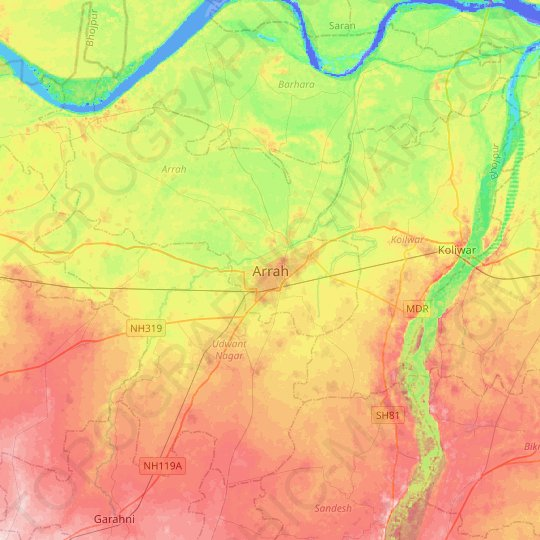 Arrah topographic map, relief map, elevations map