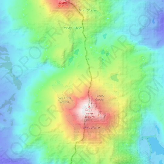 Skinner Glacier topographic map, relief map, elevations map