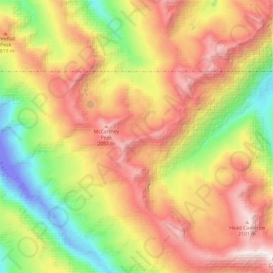 Lillian Glacier topographic map, relief map, elevations map