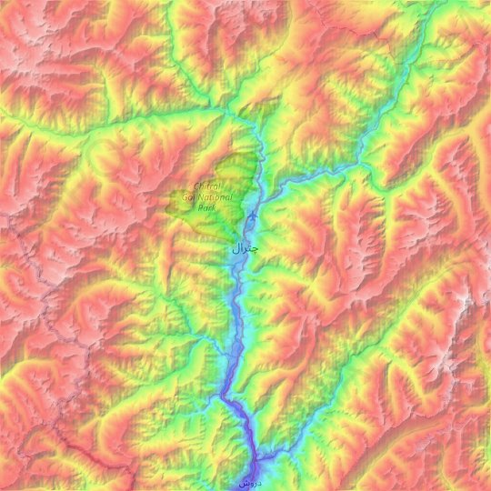 Chitral topographic map, relief map, elevations map