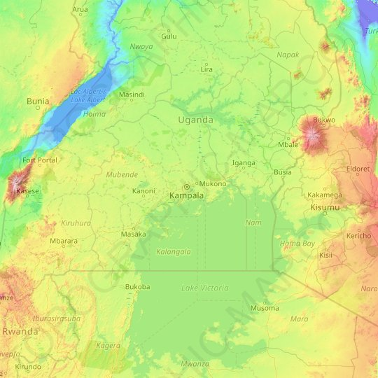 Central Region topographic map, relief map, elevations map