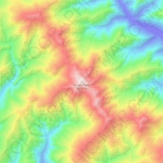 Grays Peak topographic map, relief map, elevations map
