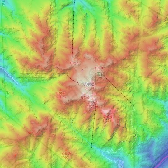 Mount Huangshan topographic map, relief map, elevations map